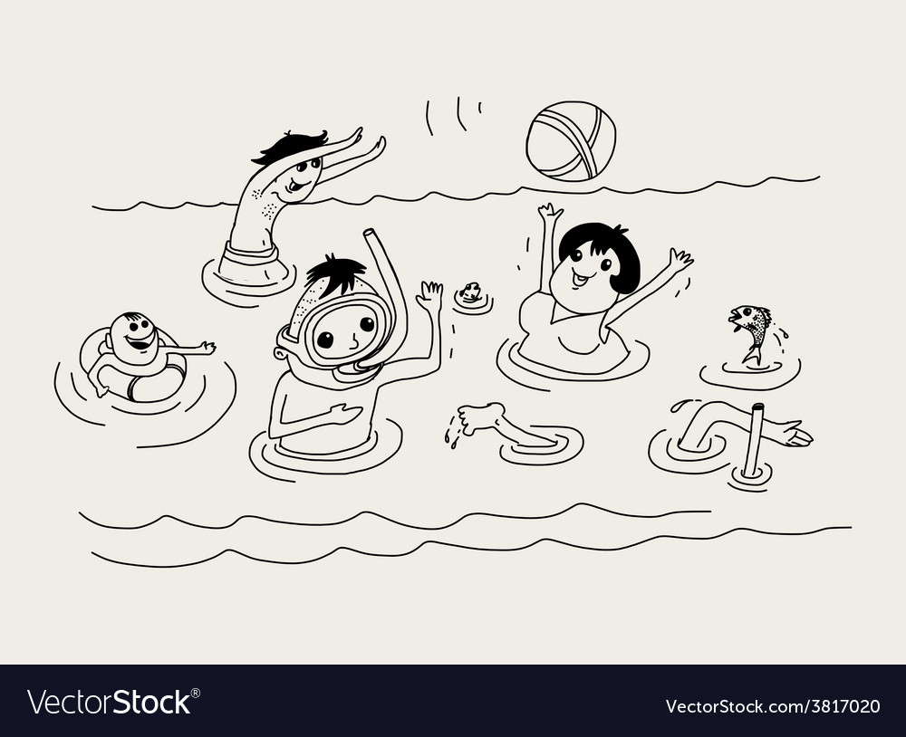 Summer vacation family in sea vector | Price: 1 Credit (USD $1)