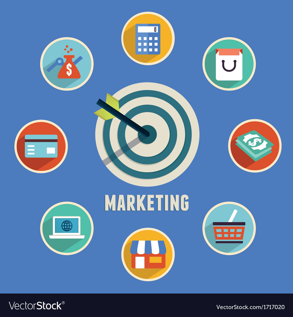 Target marketing with icons vector | Price: 1 Credit (USD $1)