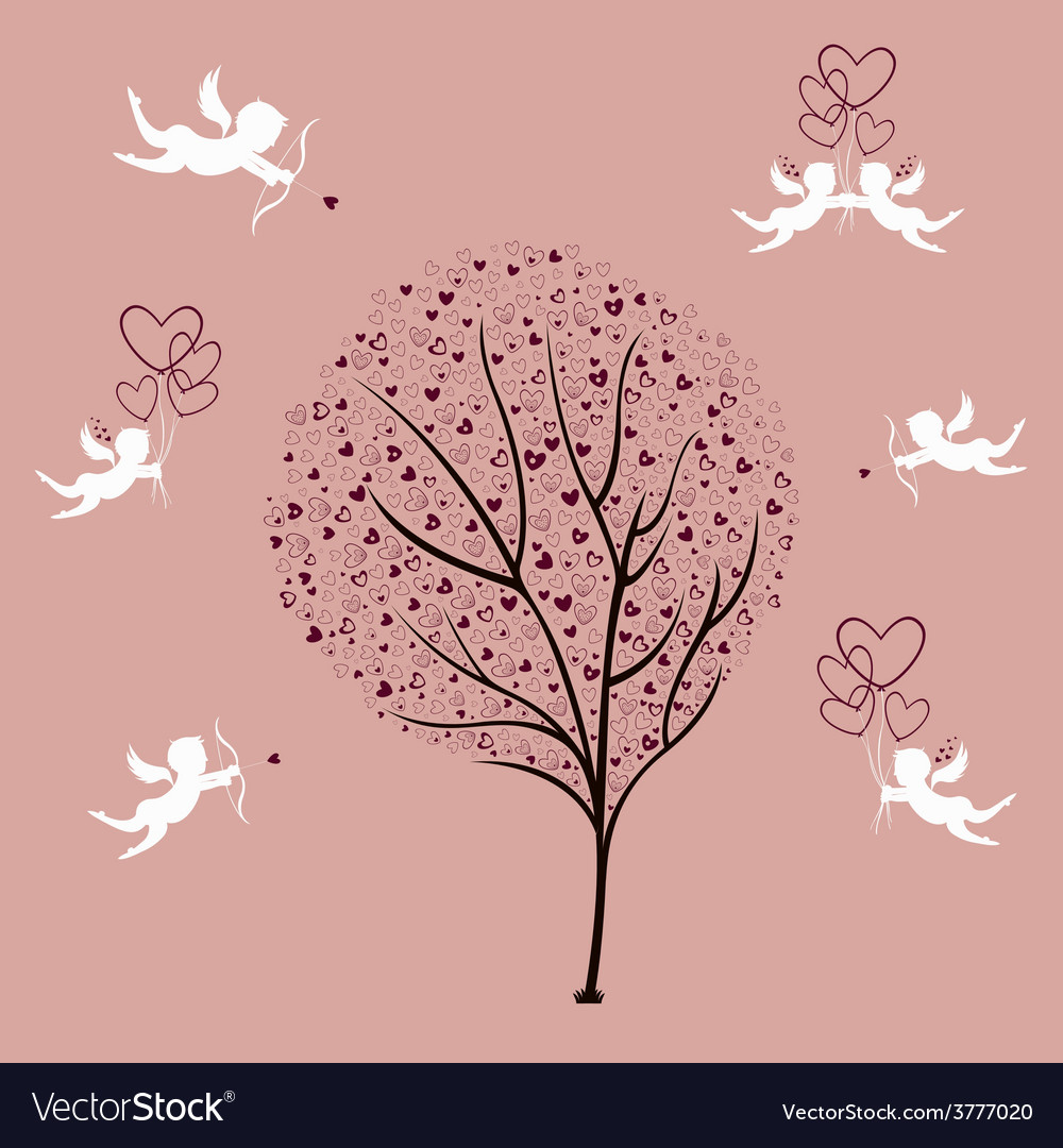 Tree of love and angels vector | Price: 1 Credit (USD $1)