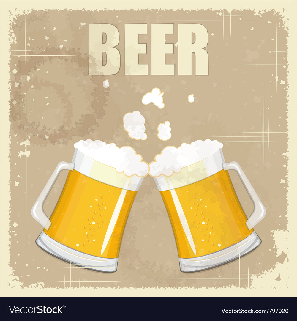 Vintage postcard cover menu - beer vector | Price: 1 Credit (USD $1)