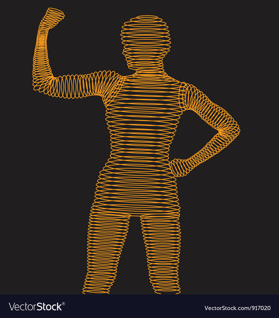 Wireframe body flexing muscle vector | Price: 1 Credit (USD $1)
