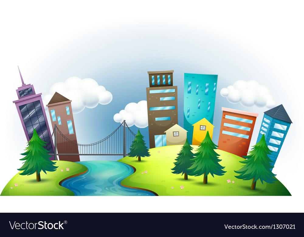 A hill with a river across the tall buildings vector | Price: 1 Credit (USD $1)