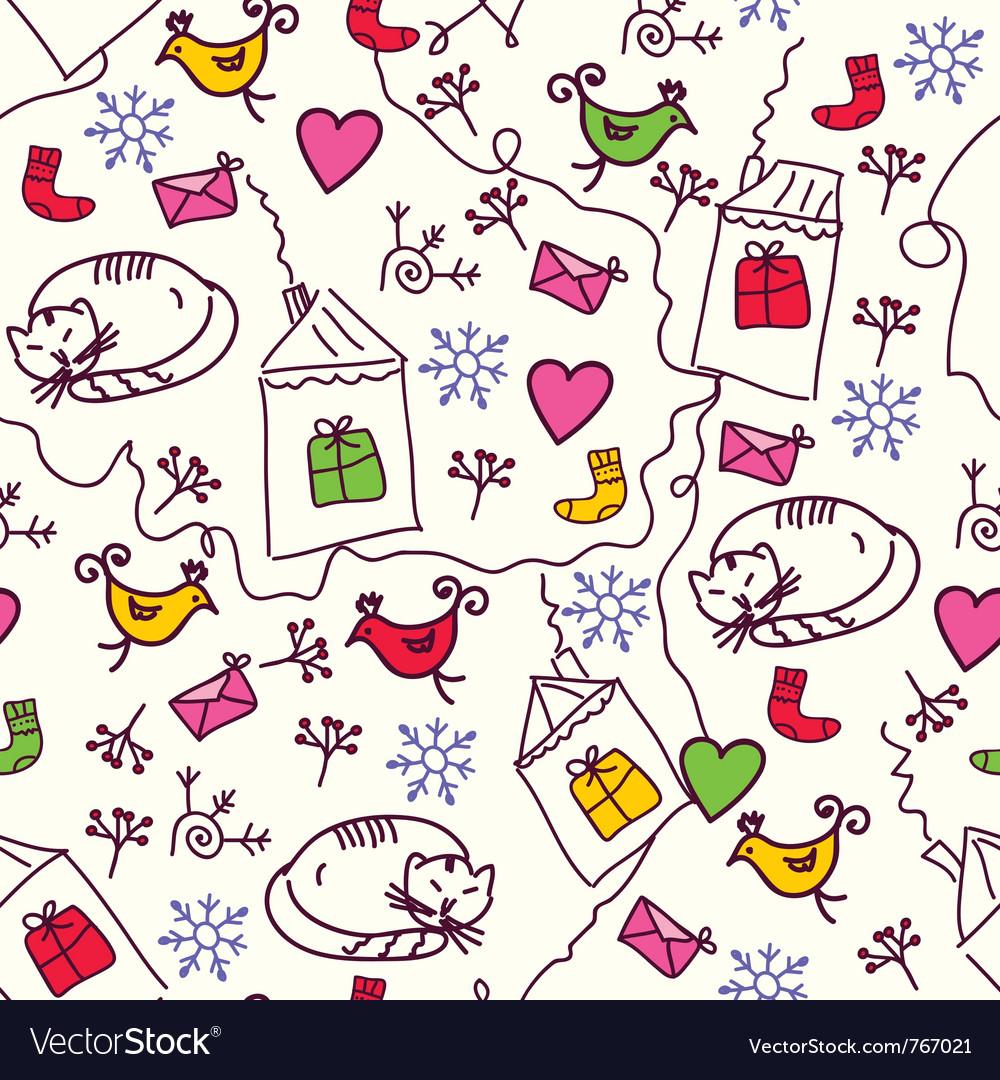 Cat and bird wallpaper vector | Price: 1 Credit (USD $1)