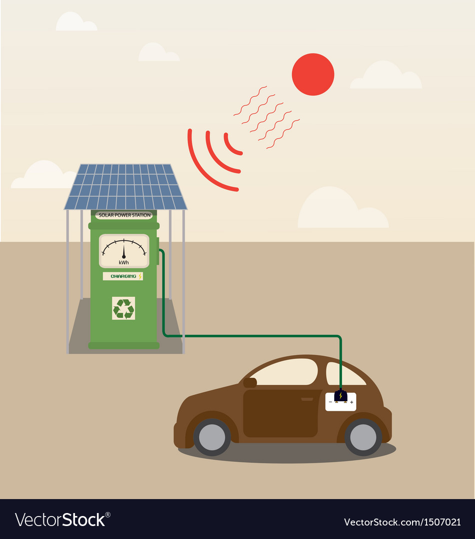 Electric car getting charged at solar power statio vector | Price: 1 Credit (USD $1)