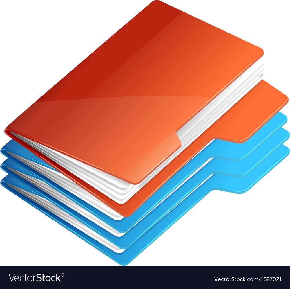 Four folders with paper folder stack vector | Price: 1 Credit (USD $1)