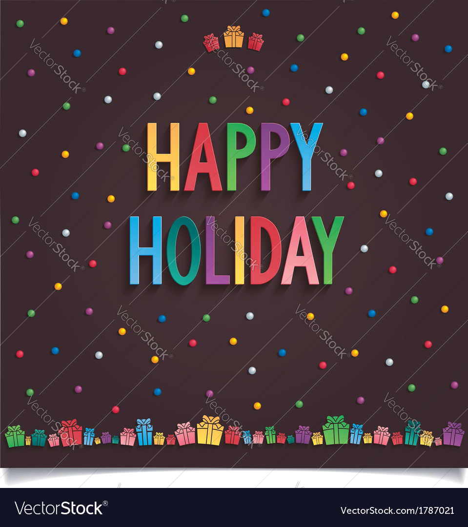 Happy holiday card with gift and lettering vector | Price: 1 Credit (USD $1)