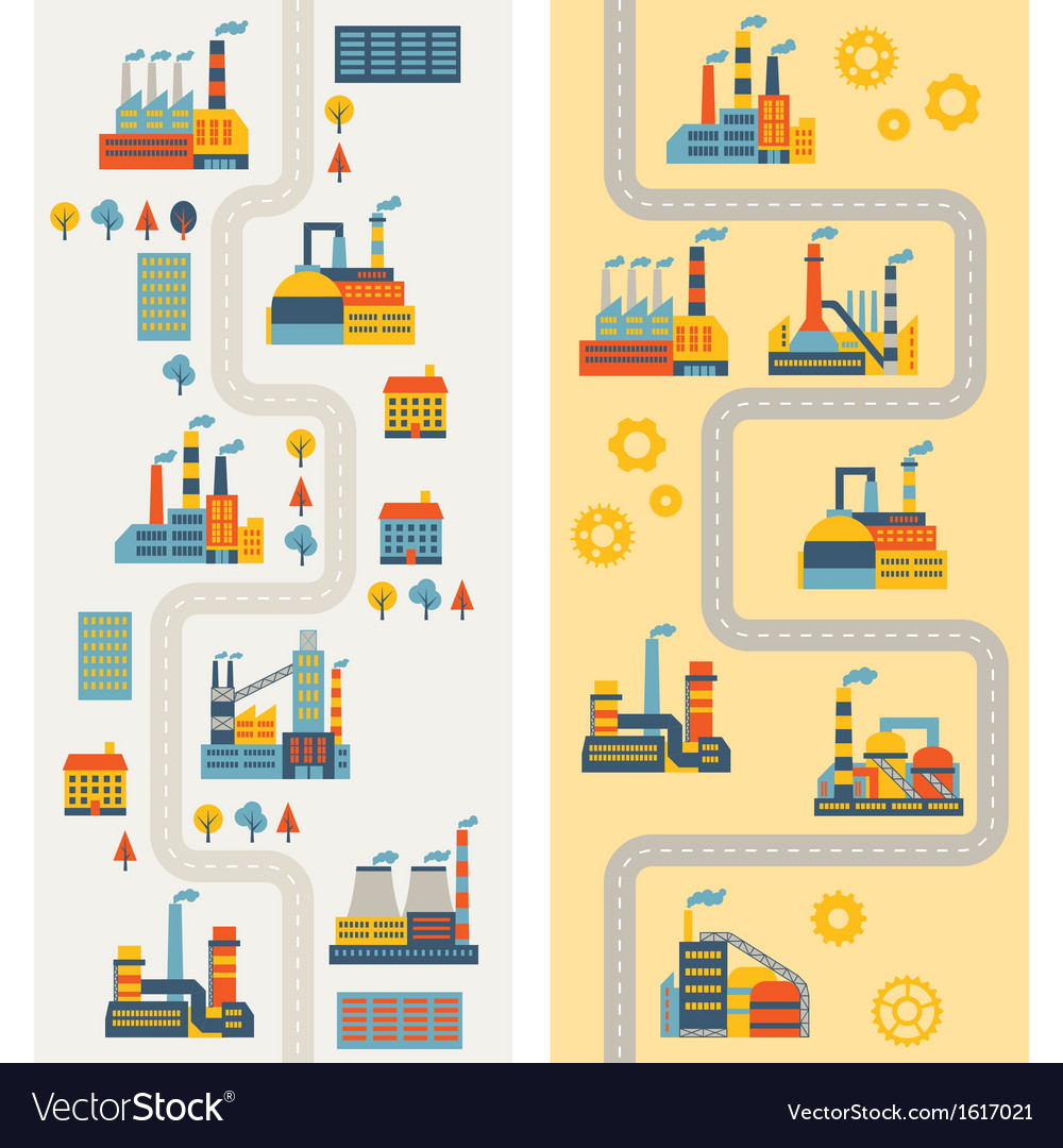 Industrial factory buildings vertical banners vector | Price: 1 Credit (USD $1)