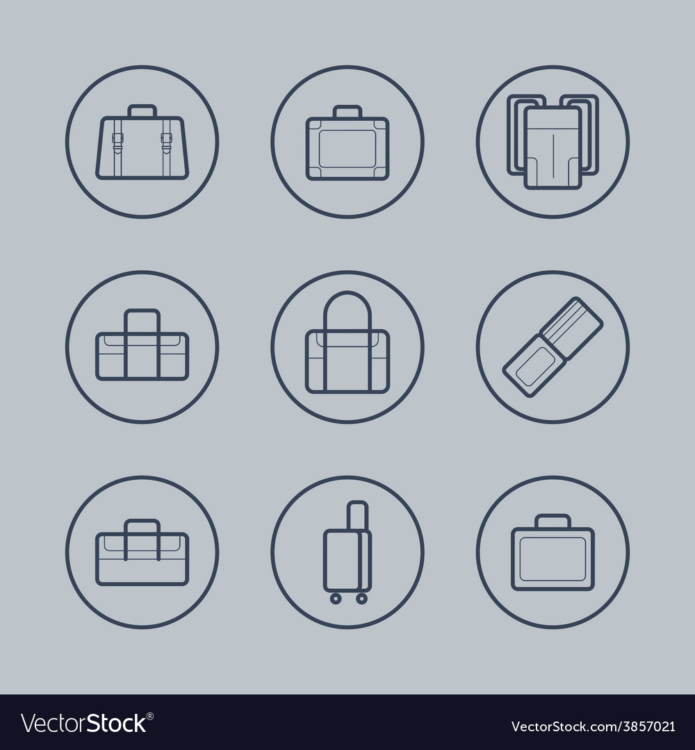 Luggage flat design thin line icons set vector | Price: 1 Credit (USD $1)