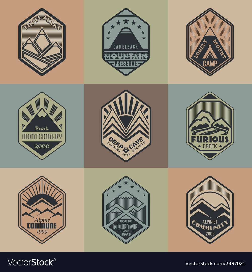 Mount badge set1color1 vector | Price: 1 Credit (USD $1)