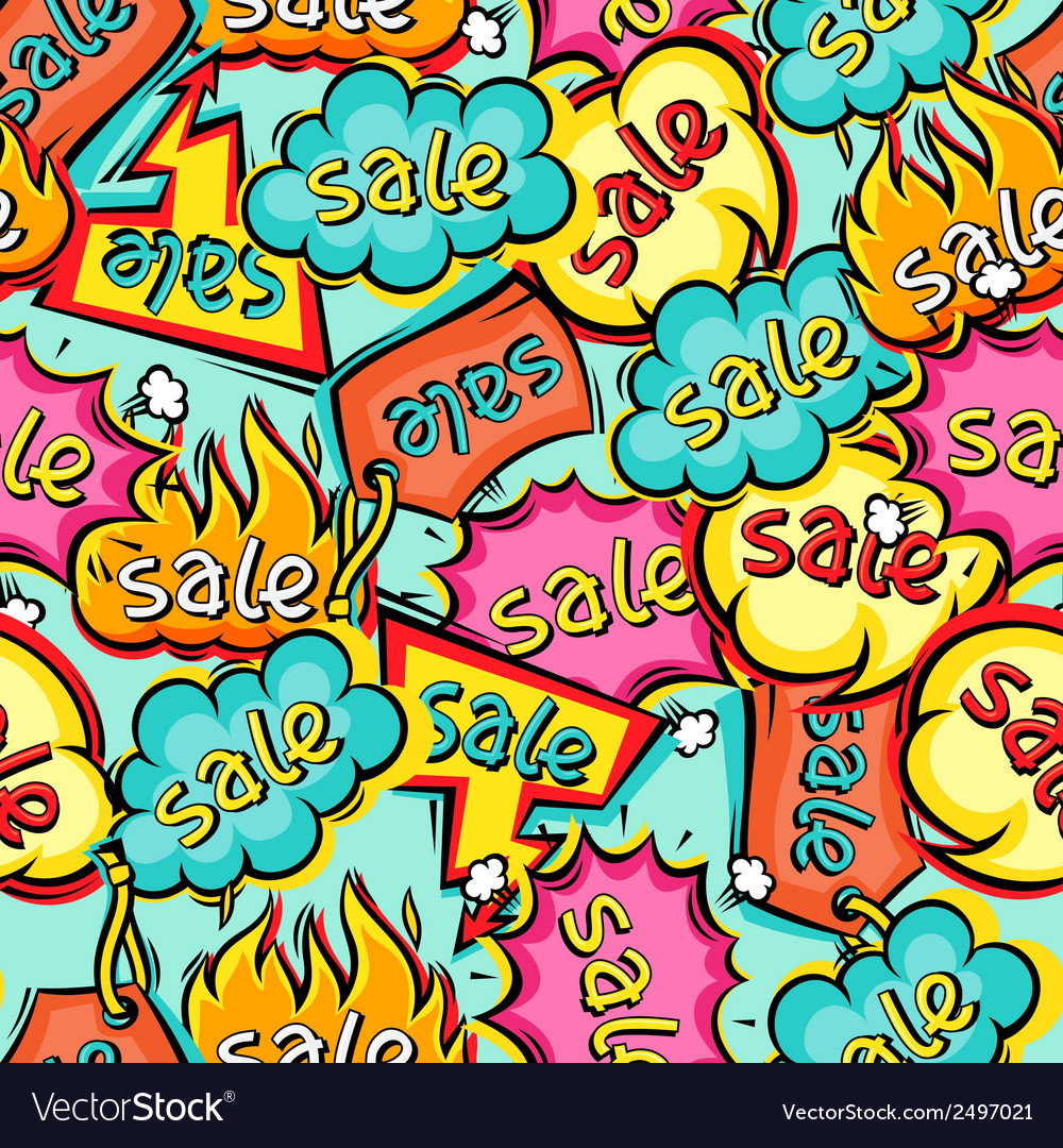 Seamless pattern of sale speech bubbles and labels vector | Price: 1 Credit (USD $1)