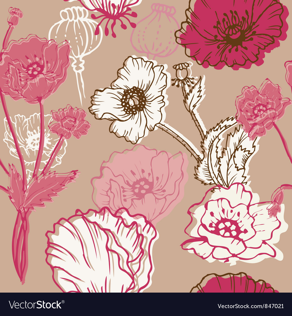 Seamless poppy background vector   Price: 1 Credit (USD $1)