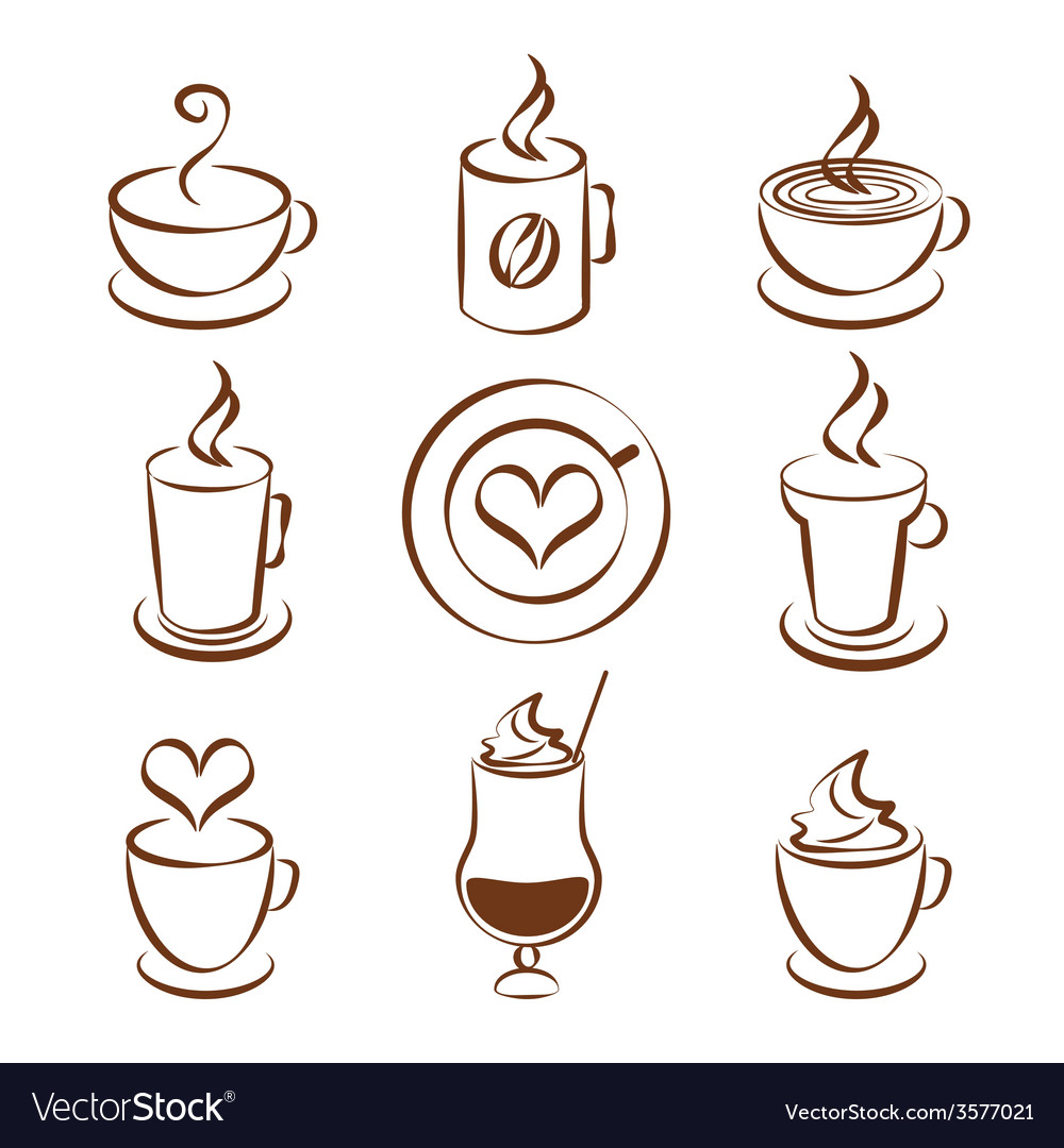 Set of coffee cup symbols vector | Price: 1 Credit (USD $1)