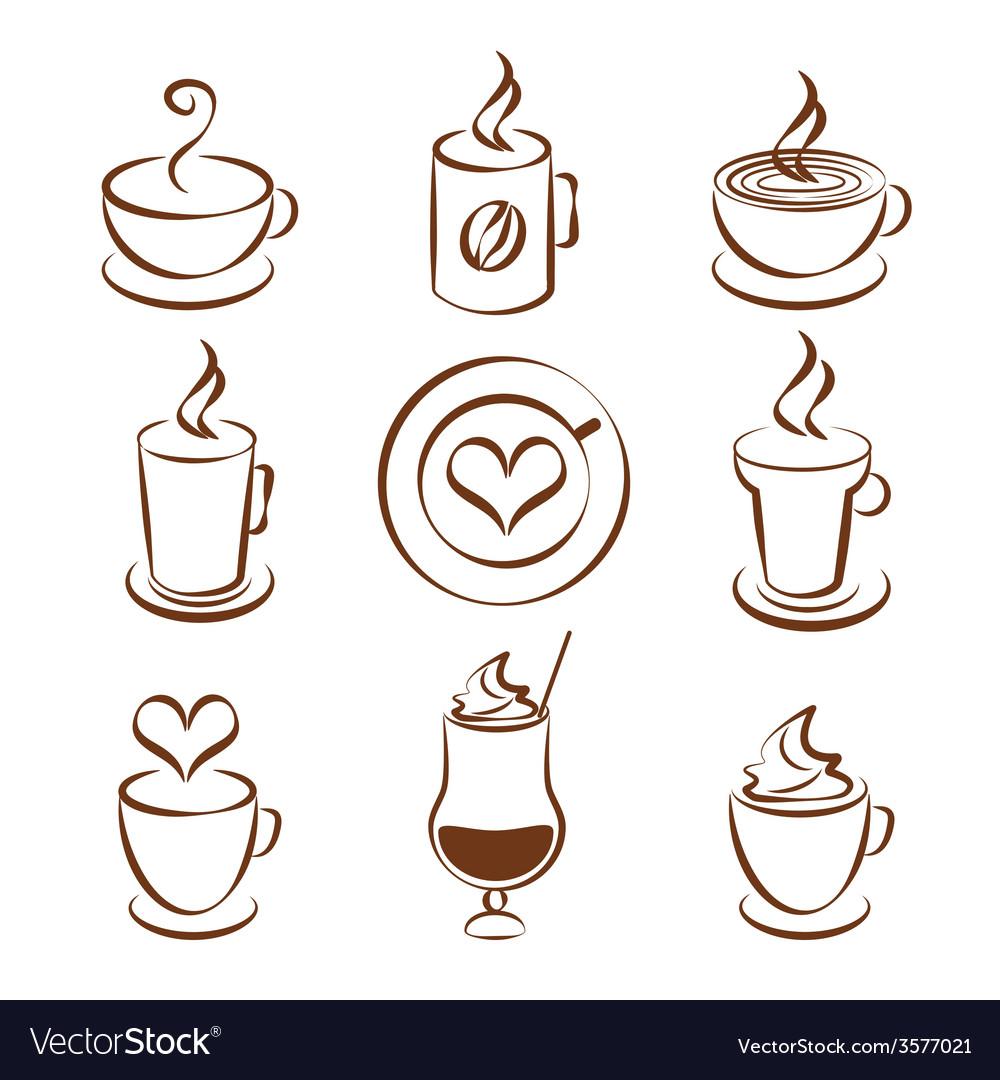 Set of coffee cup symbols vector | Price: 1 Credit (USD $1)