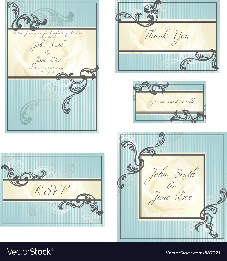 Set of rococo wedding designs vector | Price: 1 Credit (USD $1)