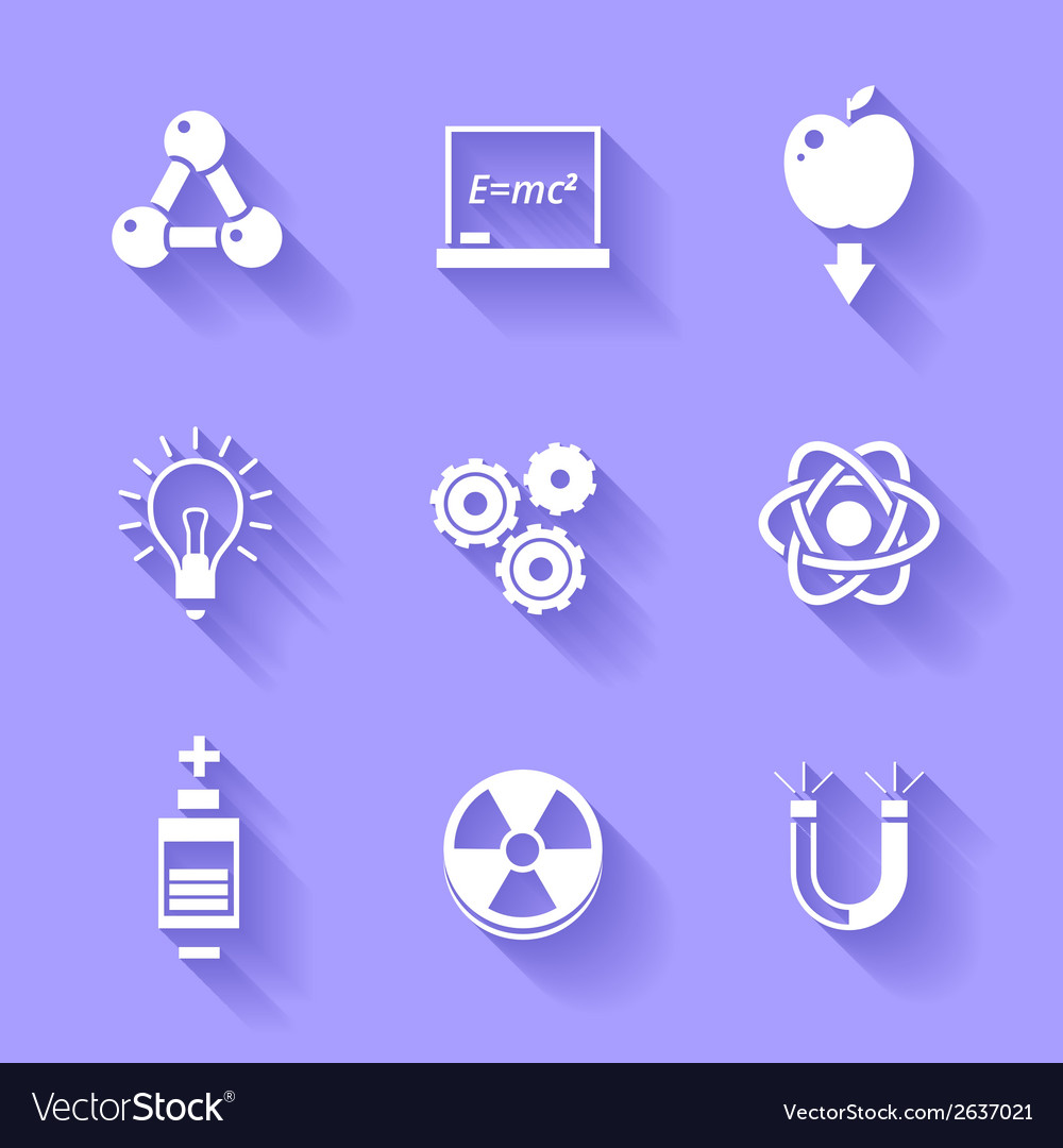 Set of white physics icons vector | Price: 1 Credit (USD $1)