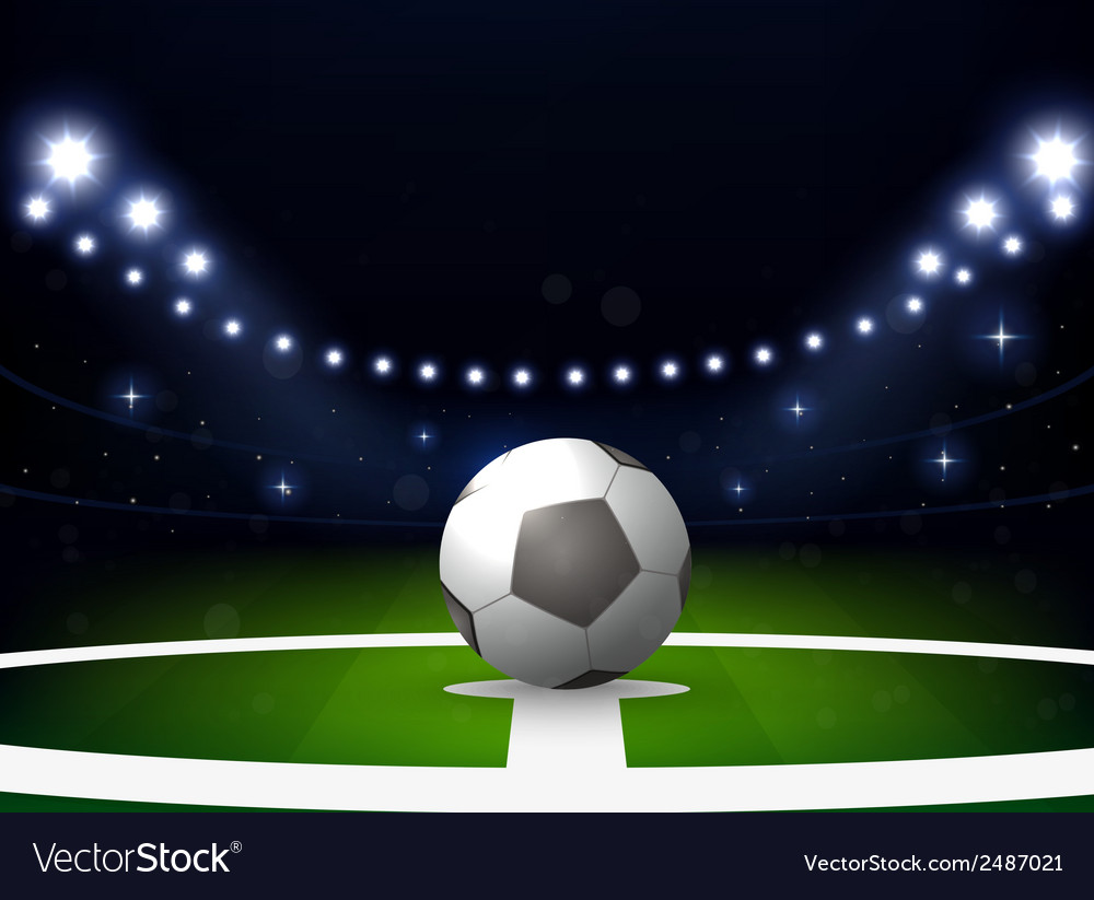 Soccer stadium with ball and spotlight at night vector | Price: 1 Credit (USD $1)