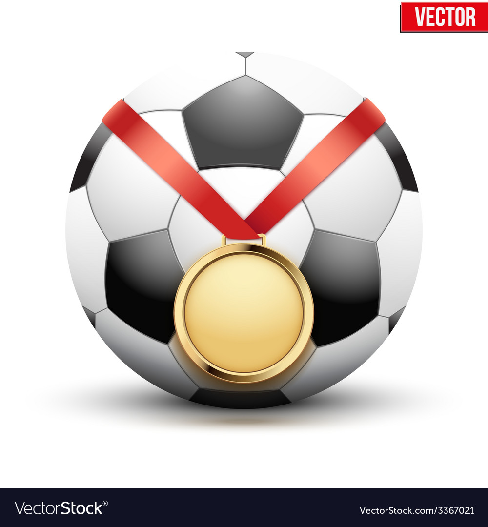 Sport gold medal with ribbon for winning football vector | Price: 1 Credit (USD $1)