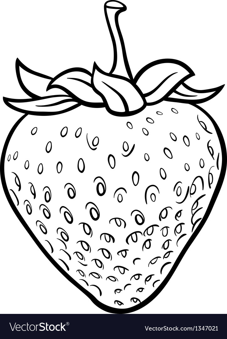 Strawberry for coloring book vector | Price: 1 Credit (USD $1)