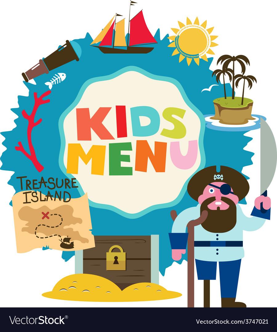 Treasure island menu for kids vector | Price: 1 Credit (USD $1)
