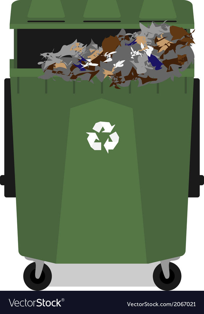 Wheeled garbage can with recycling symbol full vector | Price: 1 Credit (USD $1)
