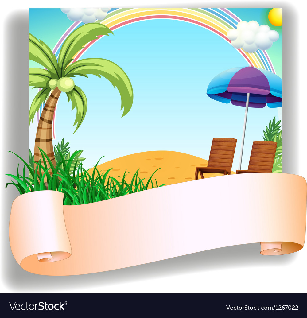 A beach chair and an umbrella with a signage vector | Price: 1 Credit (USD $1)