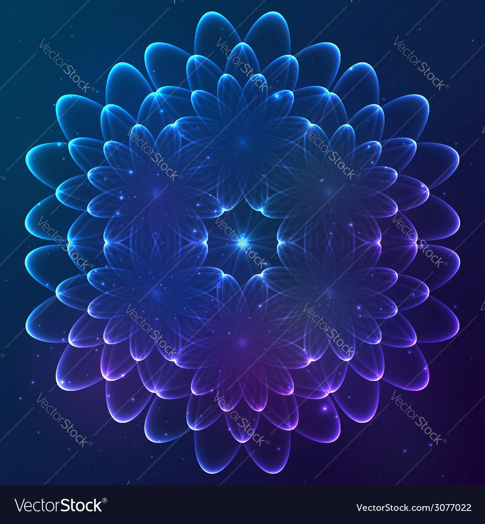 Blue shining cosmic flower vector | Price: 1 Credit (USD $1)
