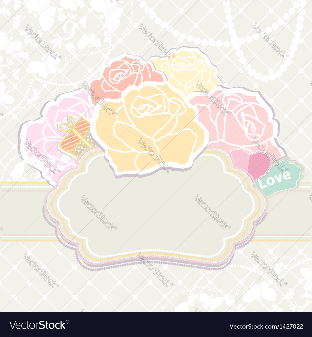Bouquet of roses with an empty cartouche vector | Price: 1 Credit (USD $1)