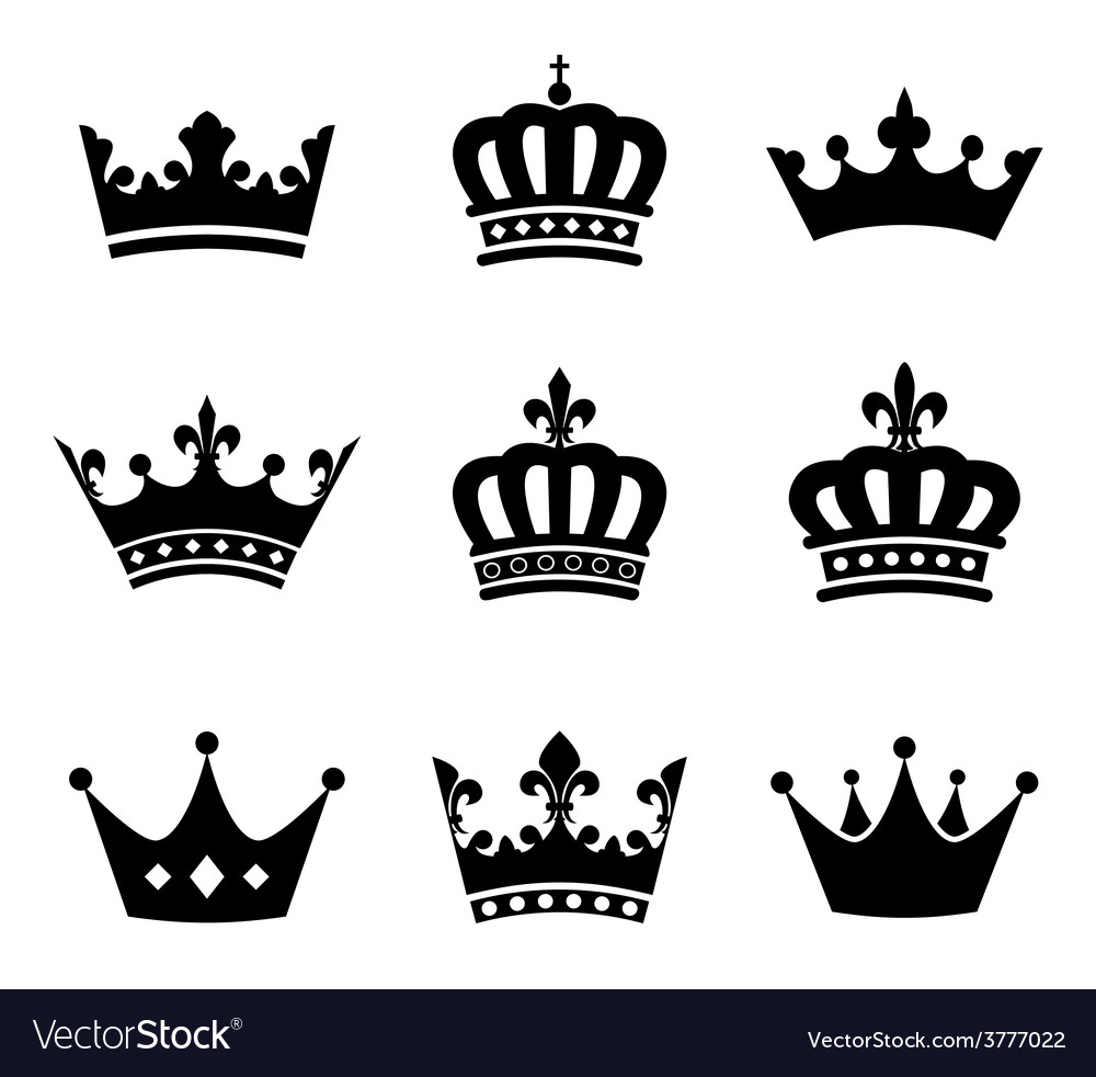 Collection of crown silhouette symbols vector | Price: 1 Credit (USD $1)