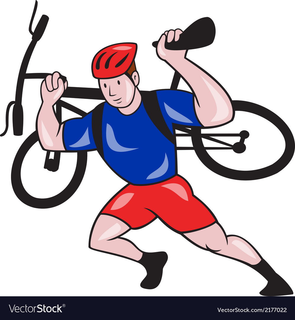 Cyclist carry mountain bike on shoulders cartoon vector | Price: 1 Credit (USD $1)