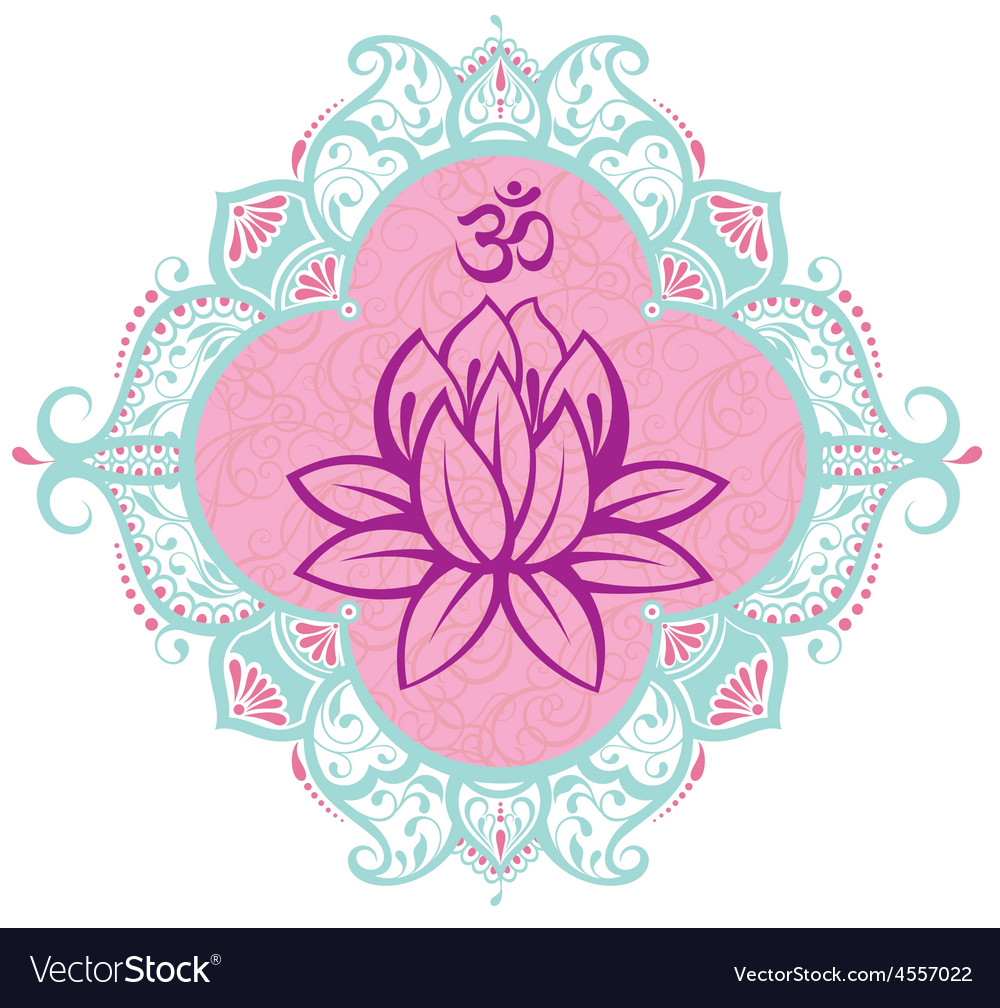 Frame with lotus vector