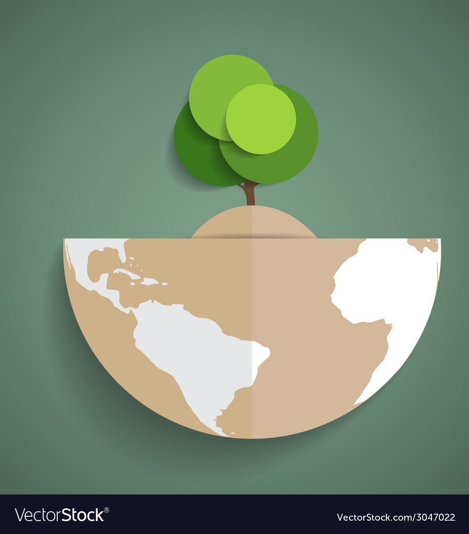 Green eco earth paper green tree on globe vector | Price: 1 Credit (USD $1)