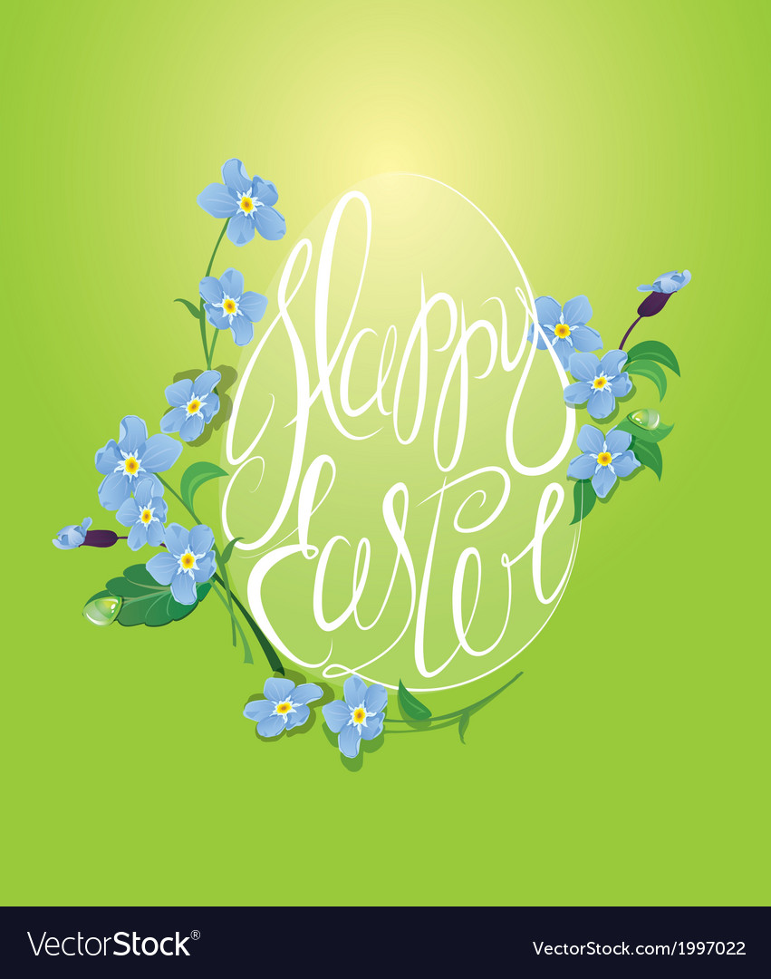 Happy easter and forget me not spring flowers vector | Price: 1 Credit (USD $1)