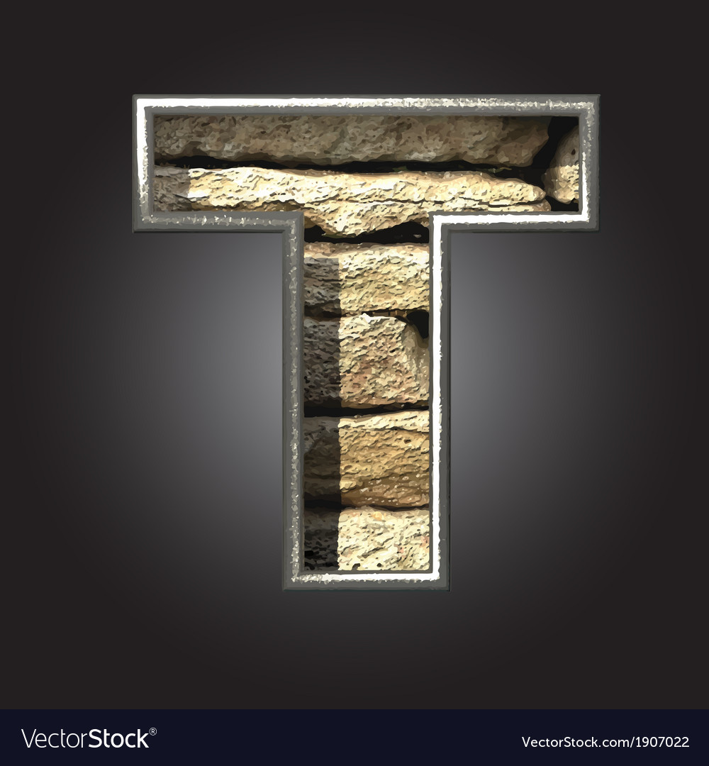 Old stone letter t vector | Price: 1 Credit (USD $1)