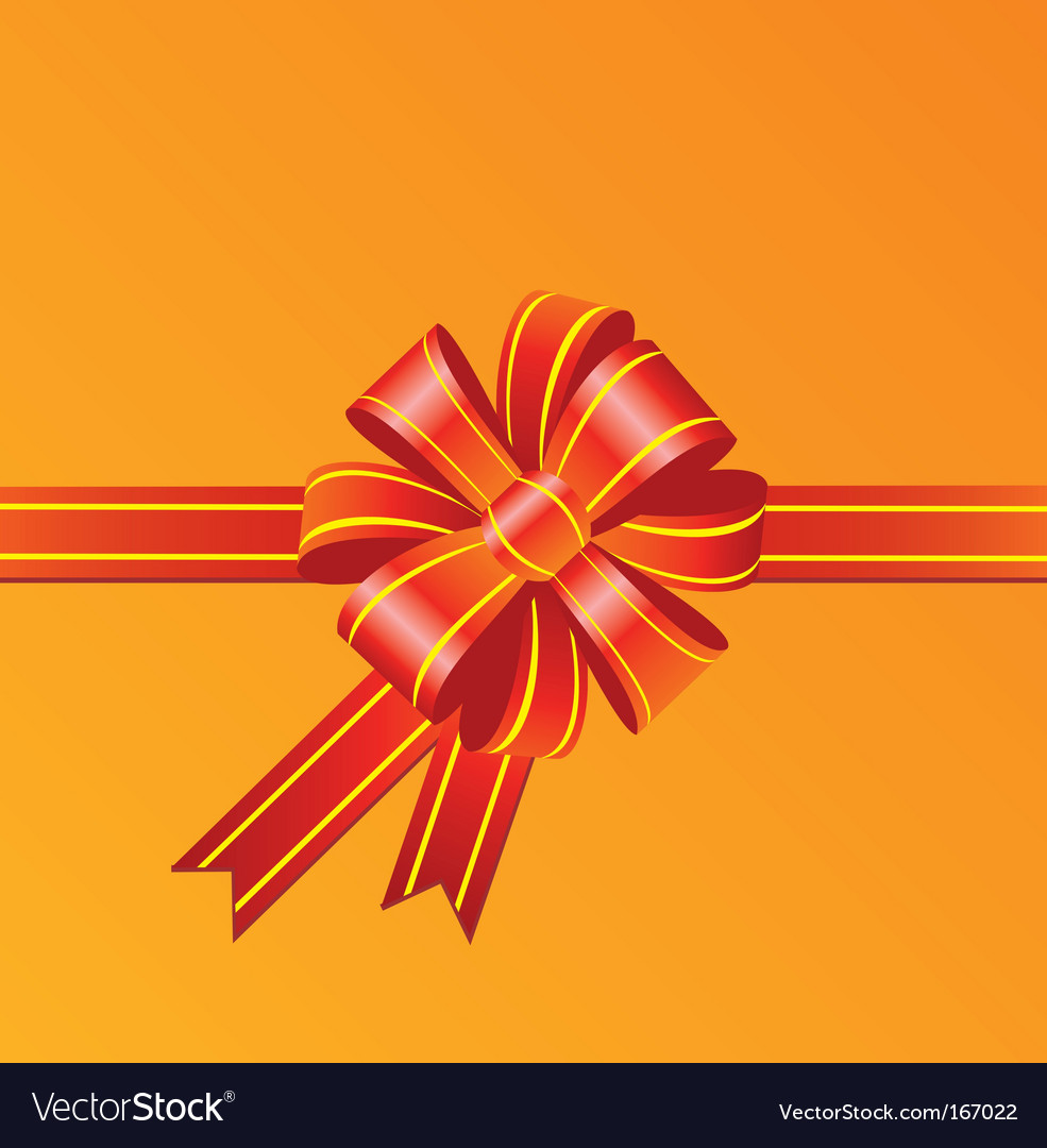 Red bow on orange background vector | Price: 1 Credit (USD $1)