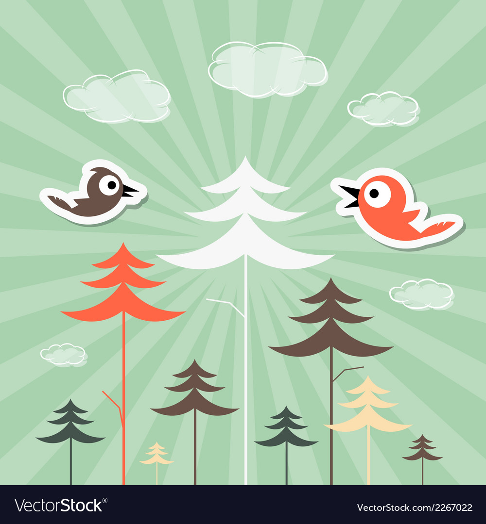 Retro paper forest and birds vector | Price: 1 Credit (USD $1)