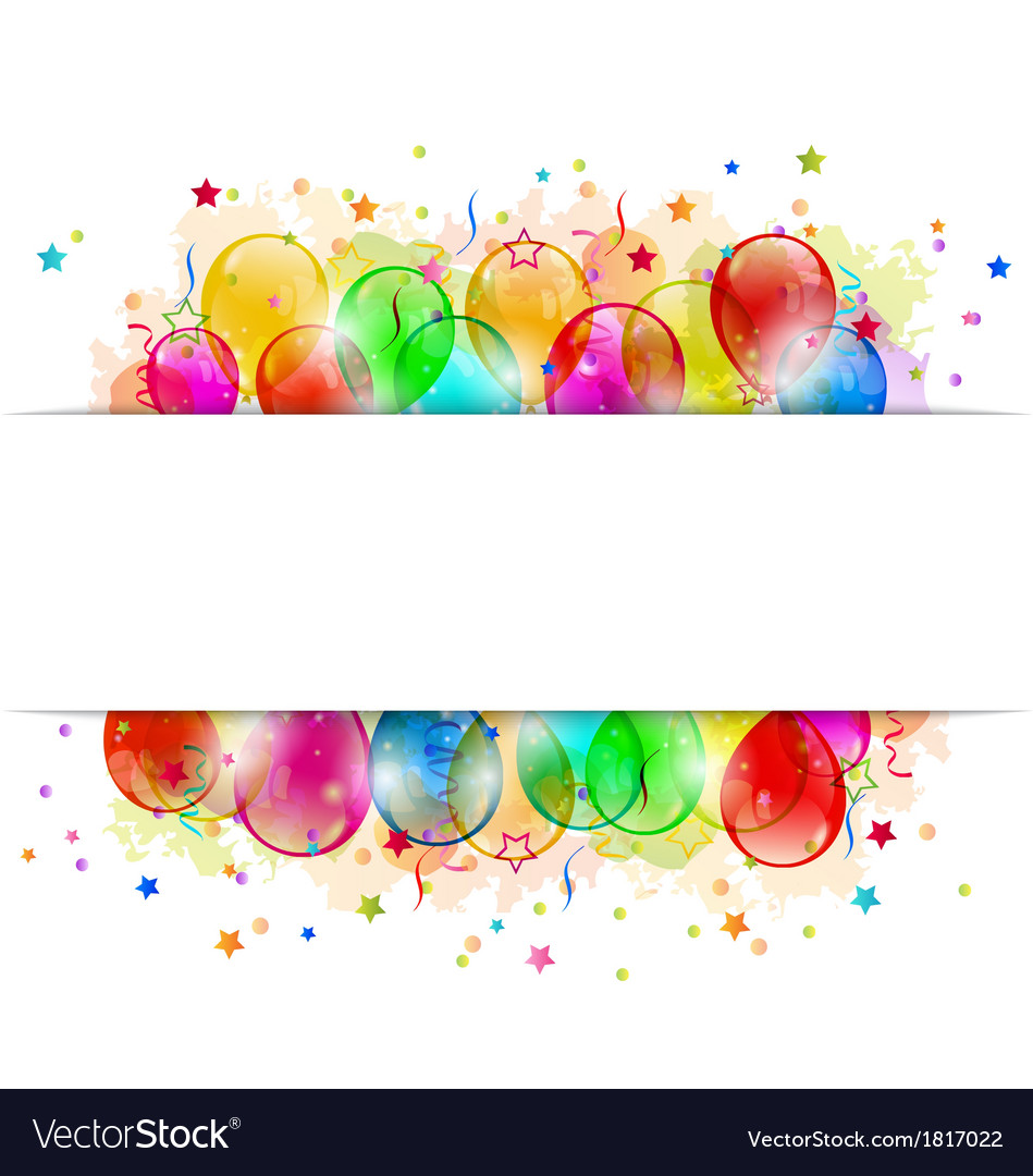 Set party balloons confetti with space for text vector | Price: 1 Credit (USD $1)