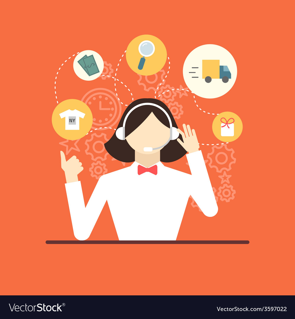 Technical support assistant woman flat design vector   Price: 1 Credit (USD $1)