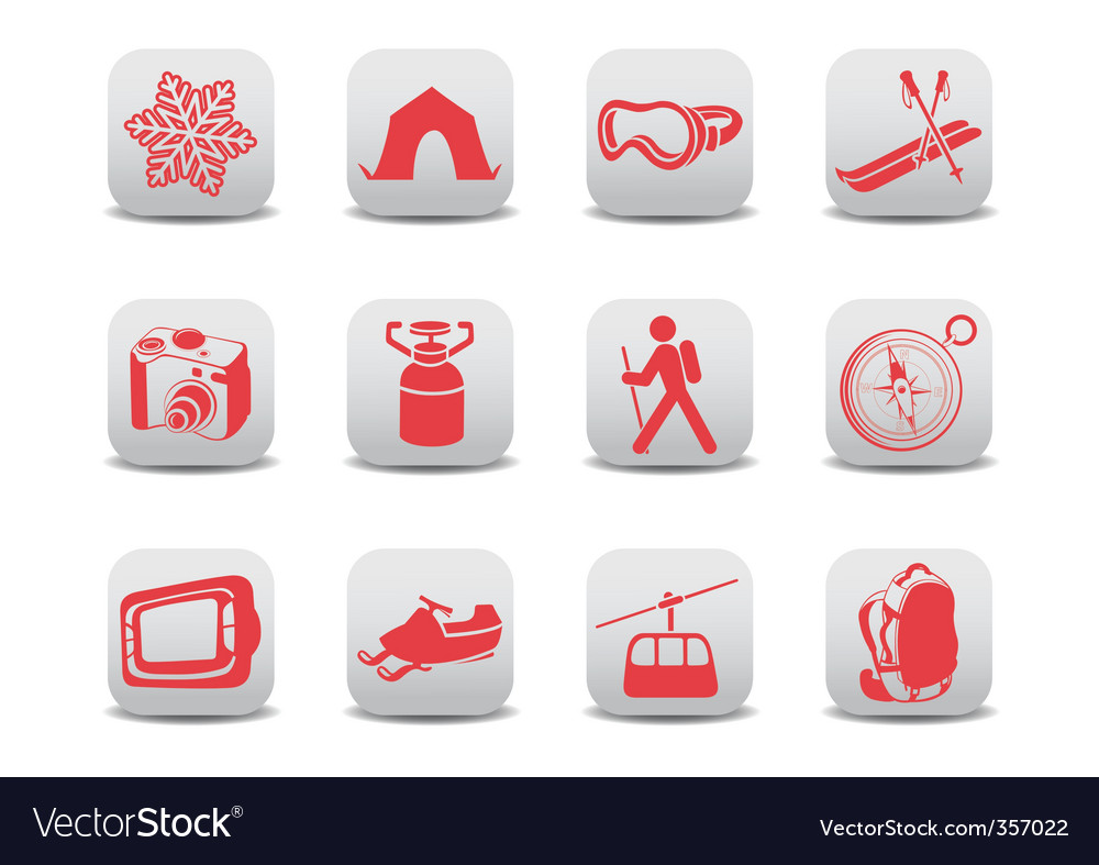 Winter camping ski icons vector   Price: 1 Credit (USD $1)