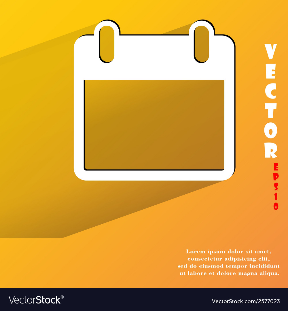 Calendar flat modern web button with long shadow vector | Price: 1 Credit (USD $1)