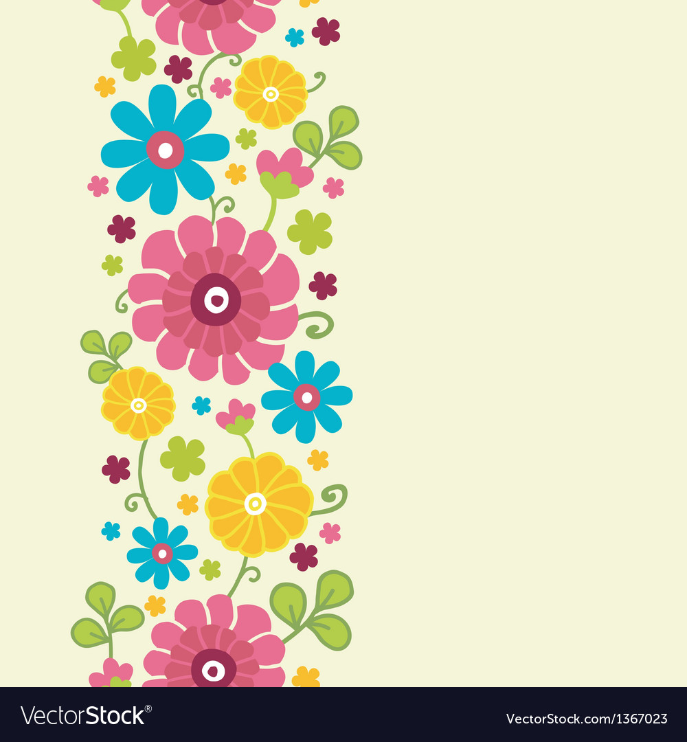 Colorful kimono flowers vertical seamless pattern vector | Price: 1 Credit (USD $1)