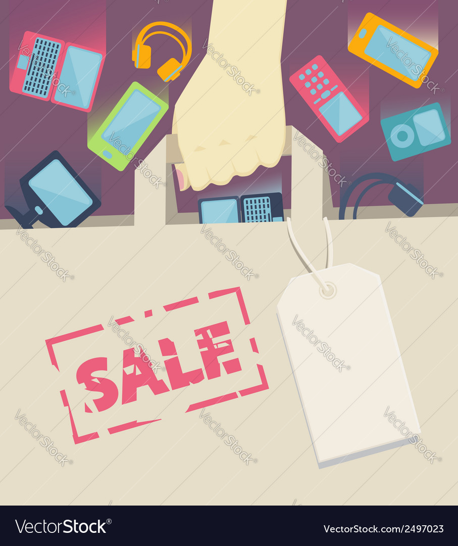 Digital devices falling into a paper shopping bag vector | Price: 1 Credit (USD $1)