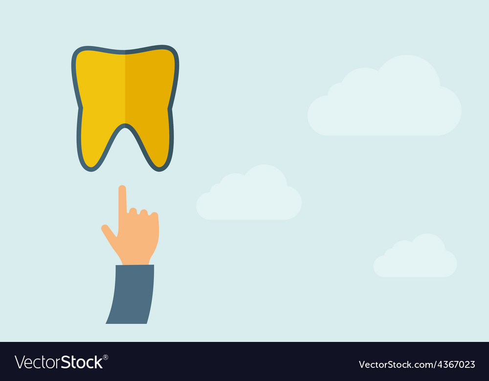 Hand pointing to a tooth icon vector | Price: 1 Credit (USD $1)