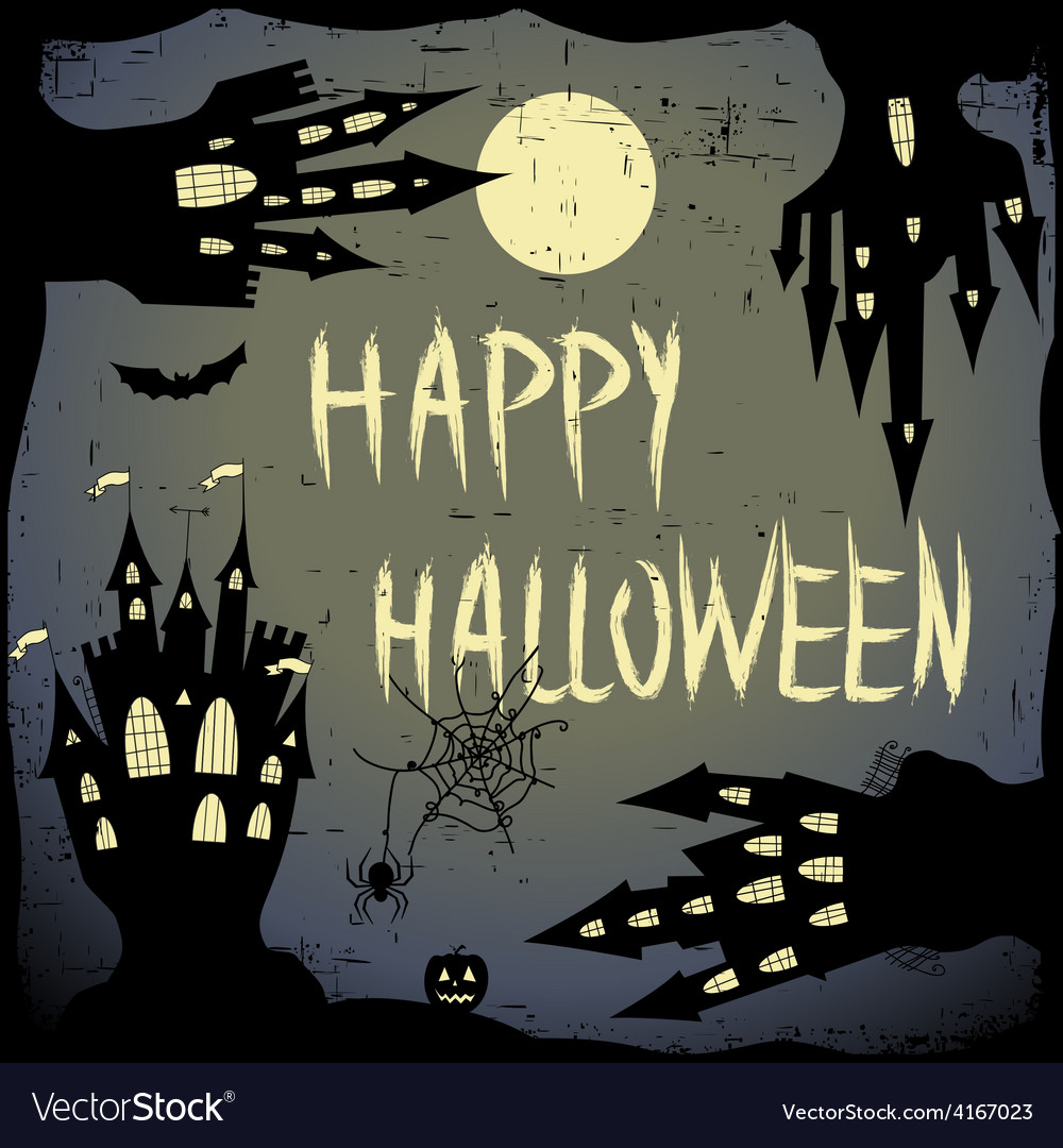 Happy halloween card halloween template with four vector | Price: 1 Credit (USD $1)
