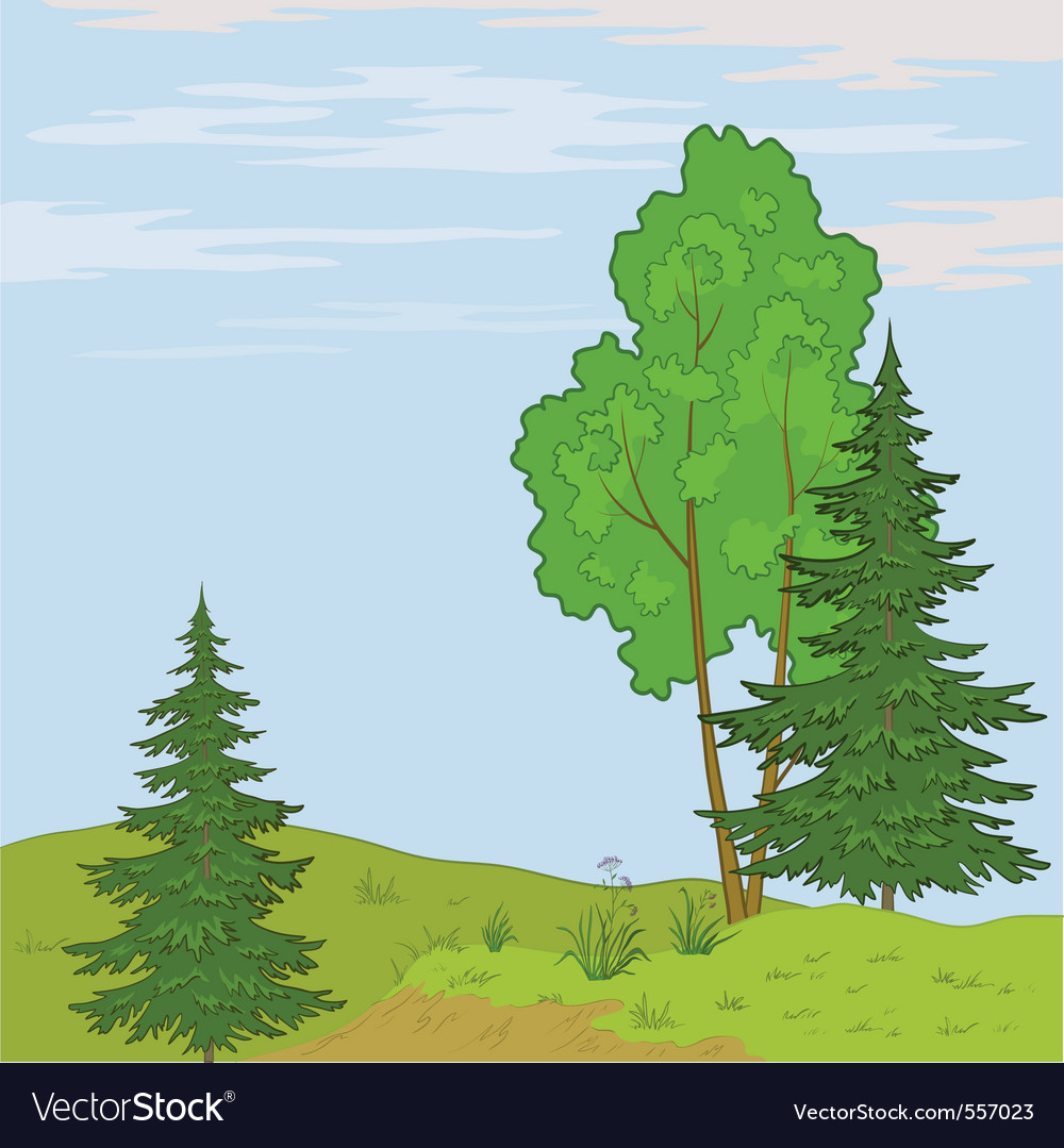 Landscape trees on hill vector | Price: 1 Credit (USD $1)