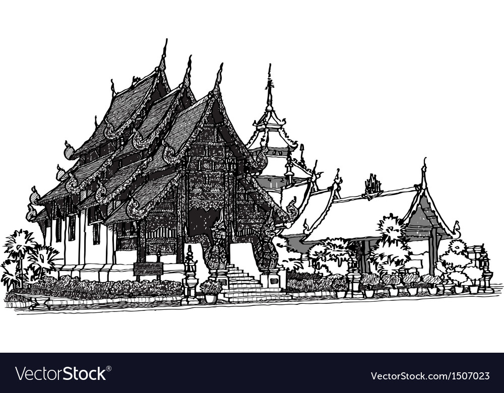 Lanna temple sketchbook vector | Price: 3 Credit (USD $3)