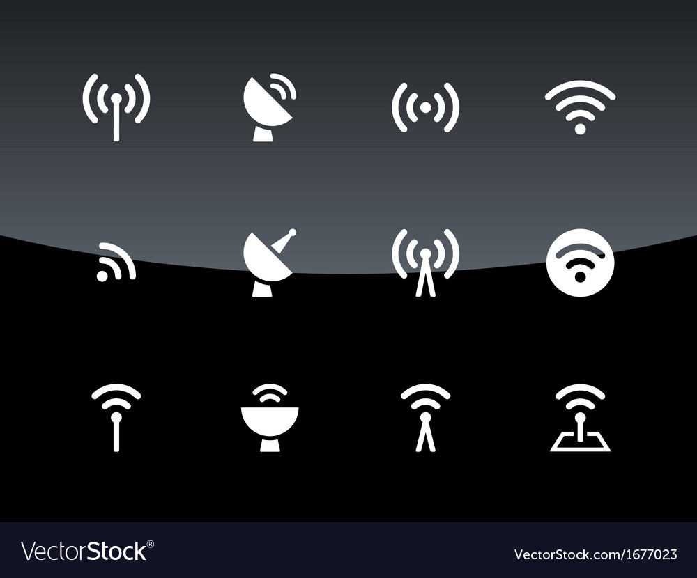 Radio tower icons on black background vector | Price: 1 Credit (USD $1)
