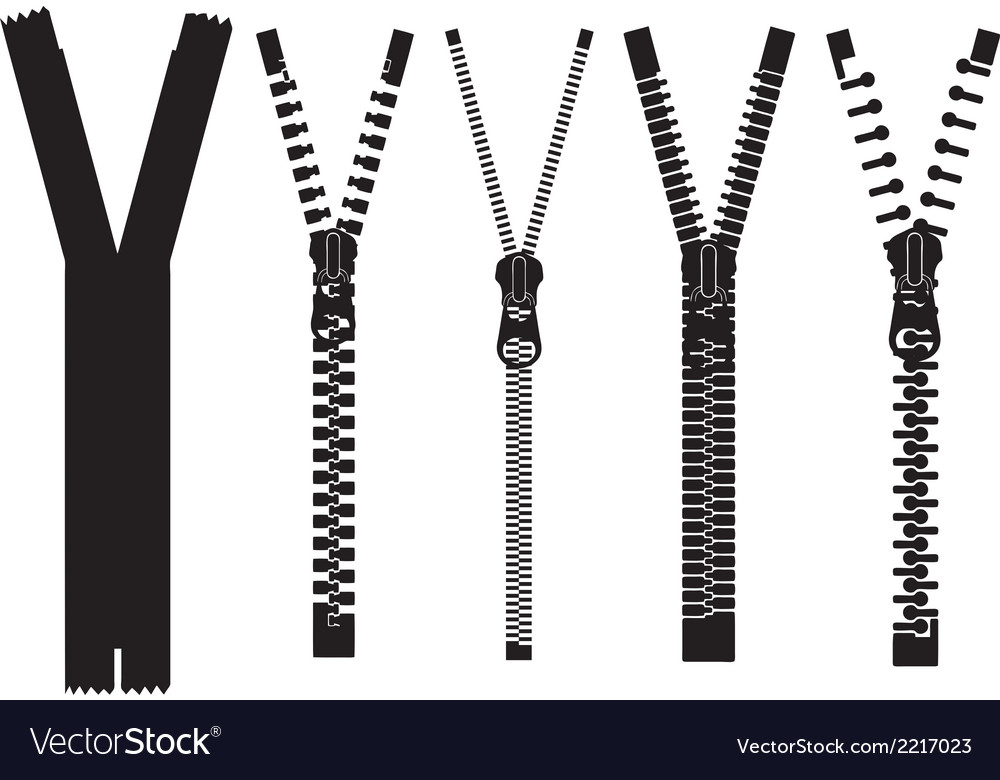 Set of different zippers vector | Price: 1 Credit (USD $1)
