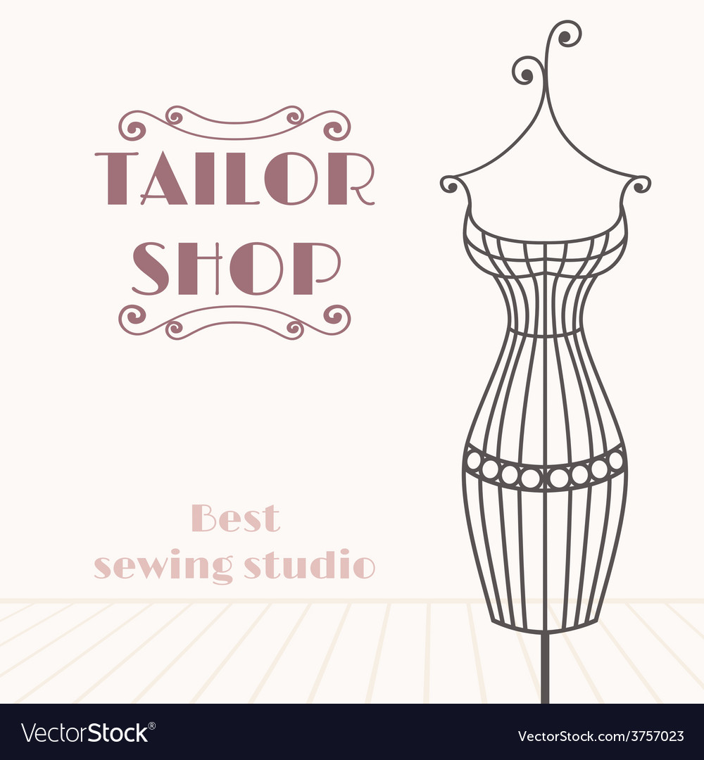 Vintage iron mannequin tailor shop background vector | Price: 1 Credit (USD $1)