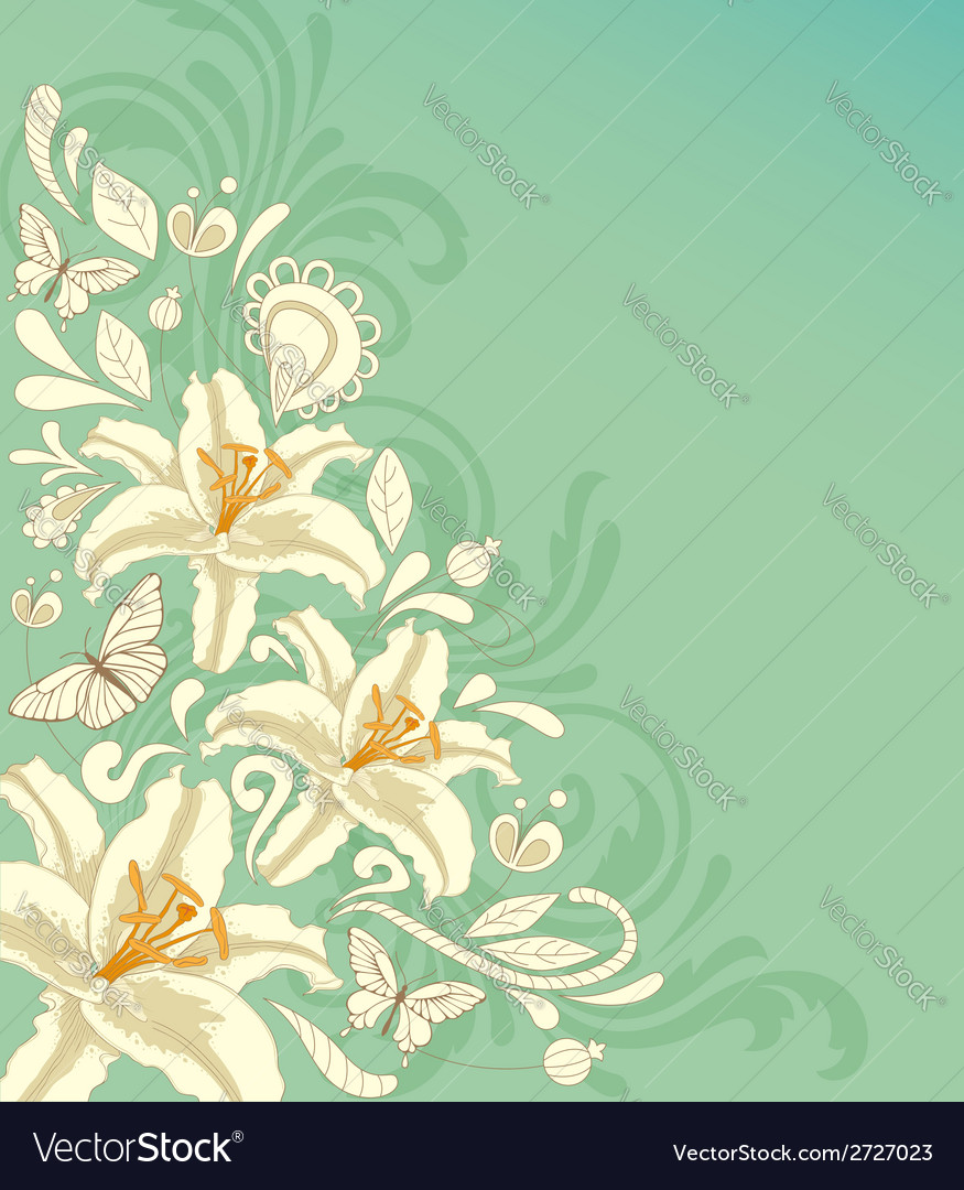 White flowers and butterflies vector | Price: 1 Credit (USD $1)