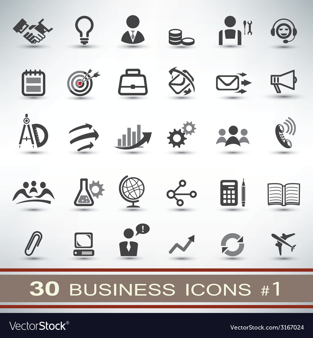 30 business icons set 1 vector | Price: 1 Credit (USD $1)